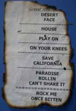 The charred set list